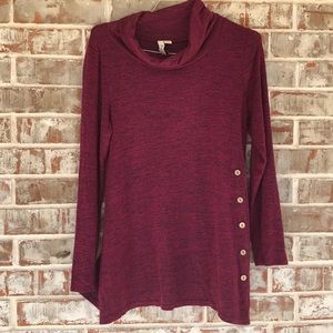 Misia Cowl Neck Heathered Knit Tunic Top